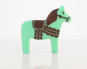 Mint Chocolate Chip Dala Horse Figurine - TheClayPony Ice Cream Edition