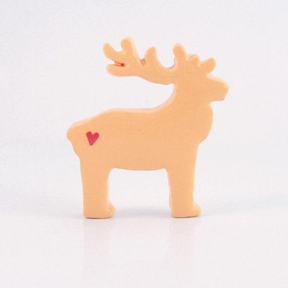 Peach Reindeer Figurine with Hearts