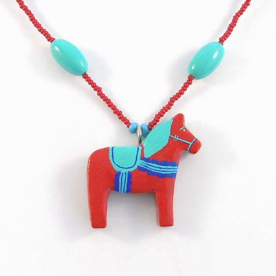 Turquoise-Green and Red Dala Horse Pendant and Necklace