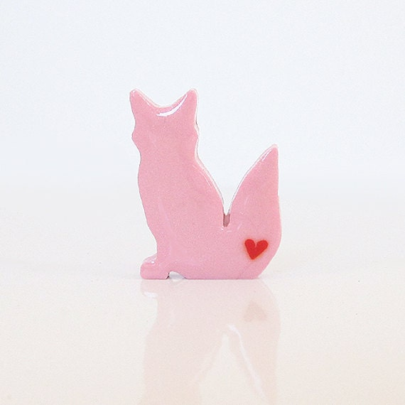 Pink Fox Figurine with Hearts