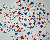 30 Envelope Seals  Red and Blue Stars