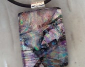 Fused Dichroic Glass Necklace, Fused Jewelry, Plum, Lavender, Olive Green,  Aqua, Necklace Included