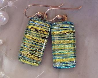 Gold Dichroic Glass Earrings