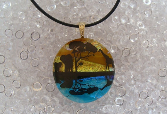 Free Necklace Elephant and Giraffe Image Dichroic Glass Pendant