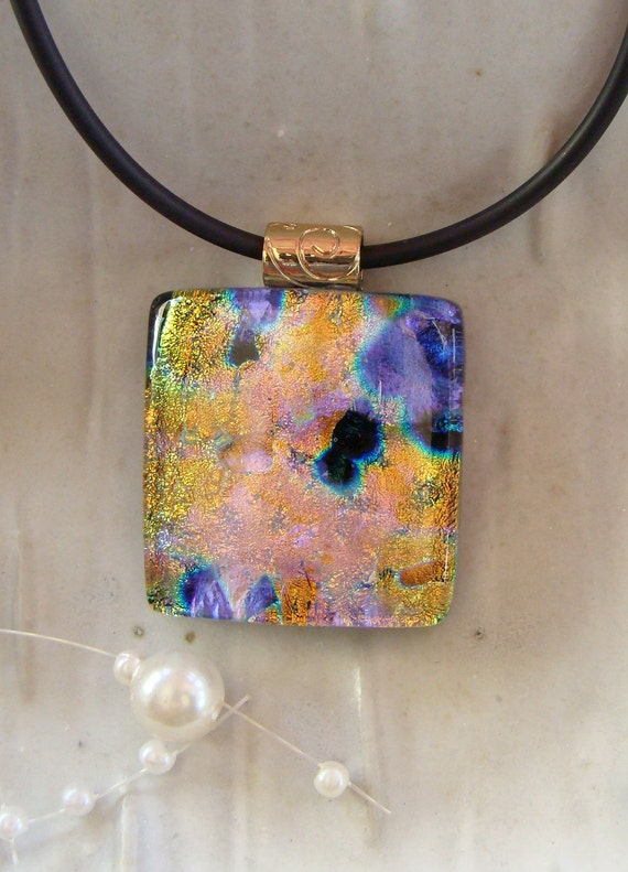 Dichroic Fused Glass Pendant, Purple, Gold, Black, Necklace Included