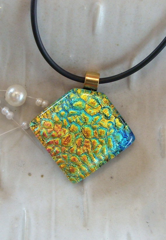 Dichroic Glass Pendant, Fused Jewelry, Golden Pink, Aqua, Necklace Included