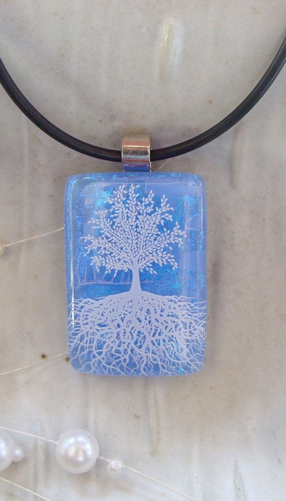Tree of Life Dichroic Pendant, Fused Jewelry, Blue, Necklace Included