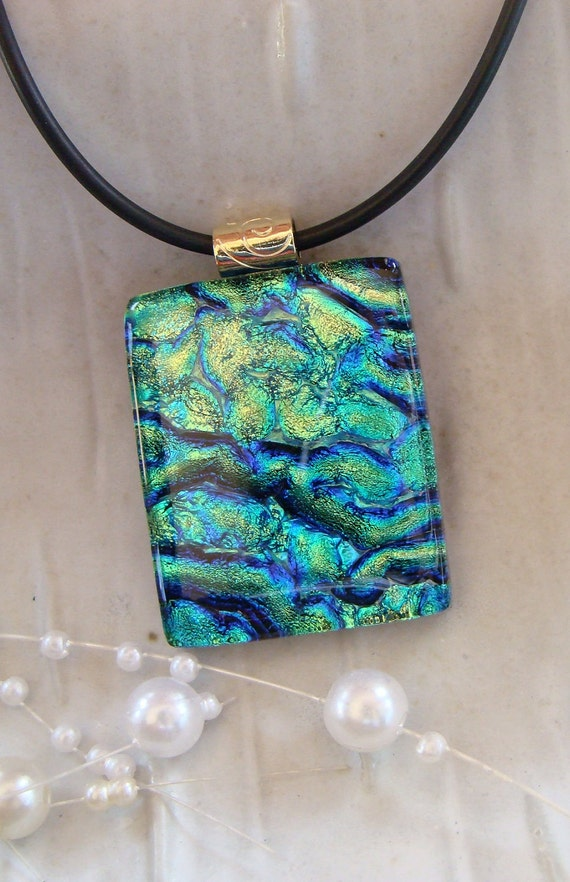 Fused Dichroic Glass Pendant, Glass Jewelry, Cobalt Blue, Aqua, Gold, Necklace Included