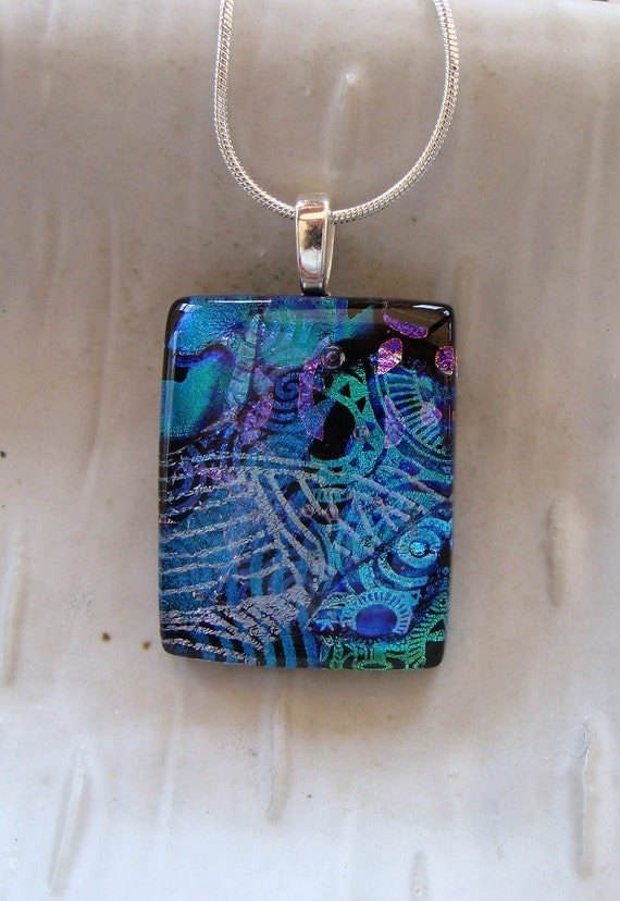 Dichroic Fused Glass Pendant, Necklace, Fused Jewelry, Aqua, Blue, Necklace Included, One of a Kind