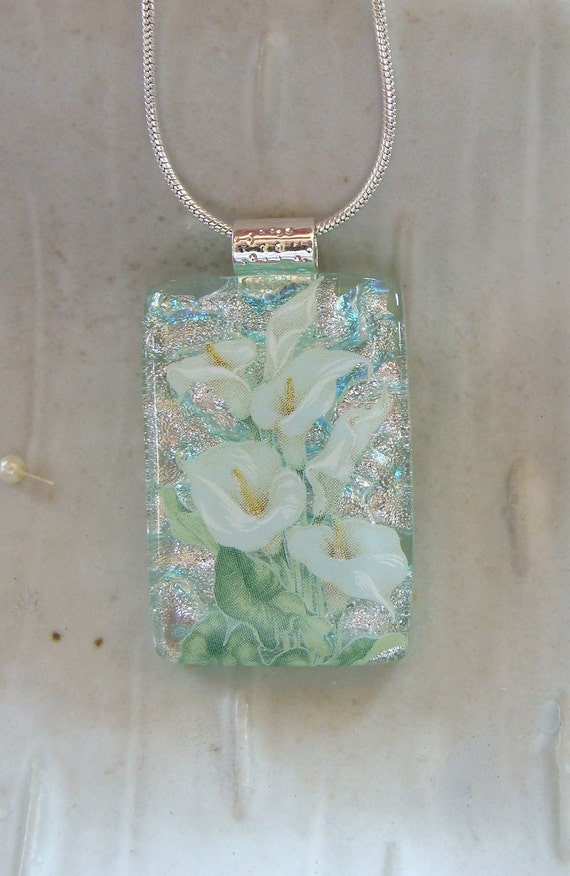 Calla Lily Dichroic Glass Pendant, Necklace, Fused Glass Jewelry, Silver, Green, Necklace Included