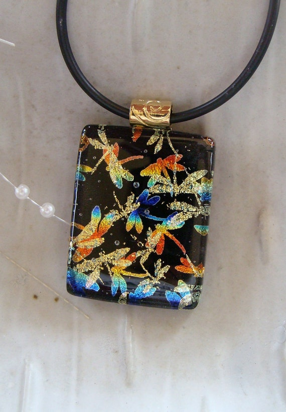Dragonfly Dichroic Glass Pendant, Fused Glass Jewelry, Necklace Included