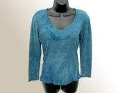 Sm Mermaid Vneck Top - Hand Dyed Cotton Knit