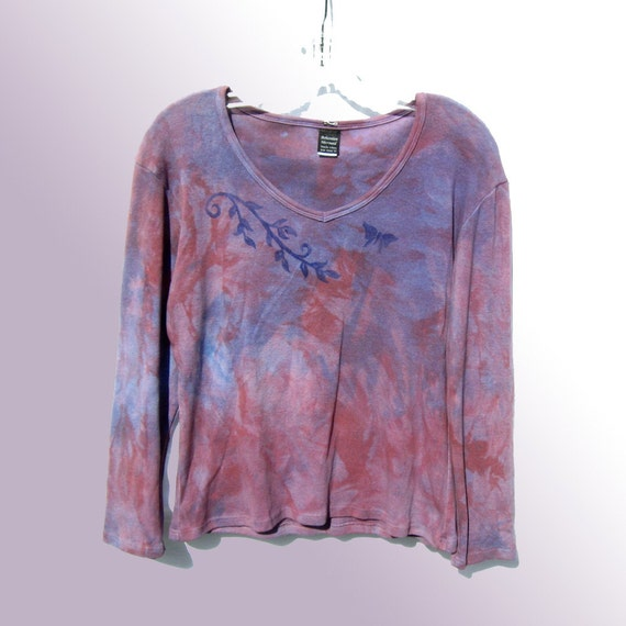 Lg Berry Butterfly Vneck Top - Hand Dyed Cotton Knit