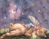Angel Art Print and Cat with Celestial Sky - Stars Moon Crest - Twilight