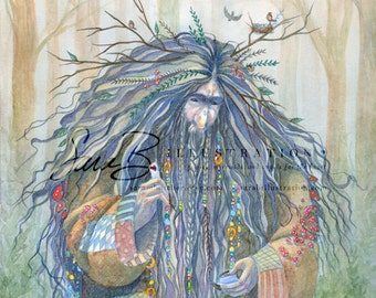 Art Print - Grumpy Troll Sharing his Love in Forest with Trees, Mushrooms, and Birds