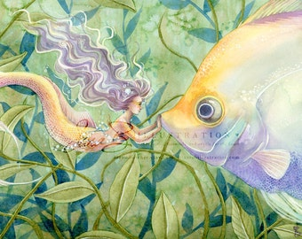 Mermaid Art Print Tiny Mermaid Angel Fish Kiss