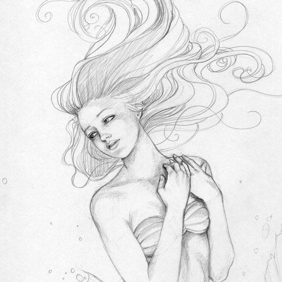 Mermaid Swimming Drawings Little Mermaid Swimming