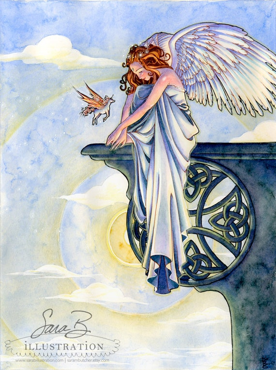 Angel with Unicorn Limited Print - Friendship over a Celtic Cross