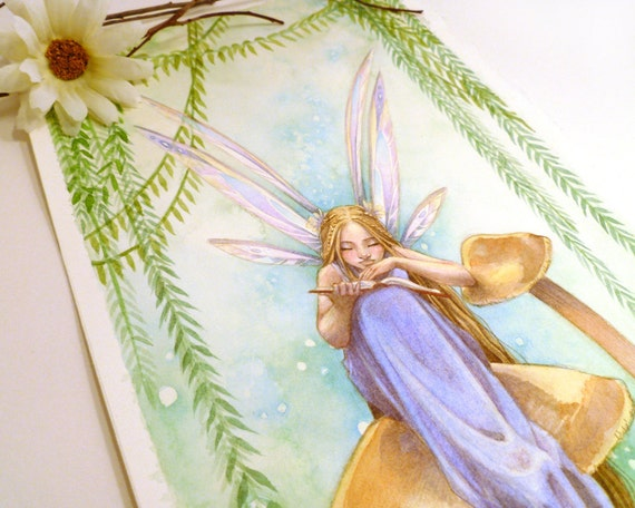 ORIGINAL Painting - Fairy Reading Book on Golden Mushroom - Emerald Forest - 5,75 x 16,5 Watercolor