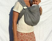 The Original Rustic Ring Sling - Edgy Grey - Our Most Popular Baby Sling - RaspberryBaby