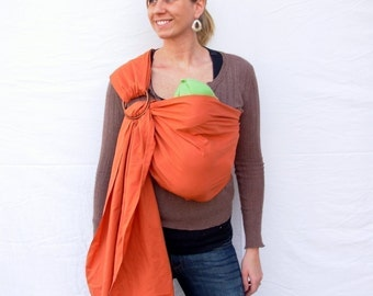 The Original Rustic Baby Sling in Color Rust - Ring Sling for infant or toddler -