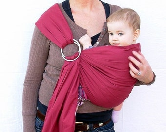 The Original Rustic Baby Sling in Berry- Ring Sling for infant or toddler -