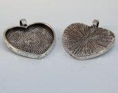 5 Antiqued Silver-Plated Heart Pendant Bezel Blanks