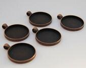 5 Antiqued Copper Round Pendant Bezel Blanks
