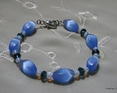 Blue Clouds Cat's Eye Beads Bracelet