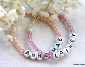Toddler Personalized Initial Name Bracelet - with Pearls or Crystals - You Choose Any Color