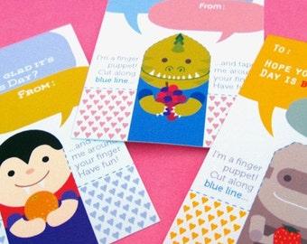 Robot, Vampire, & Monster Finger Puppet Valentines - Cards for School - Instant Download Printable PDF