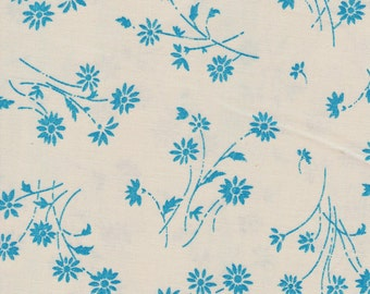 Blue Turquoise Flowers fabric , 100% Cotton.