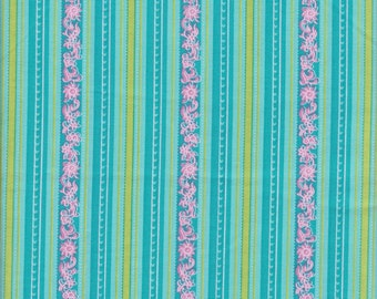 Floral Stripe Fabric 1 Yard 100% Cotton