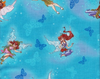 Fairies All Over Fabric,  Fabric By The Yard.
