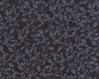 Blue Holly Vine All Over Fabric, 100% Cotton, Sold By The Yard