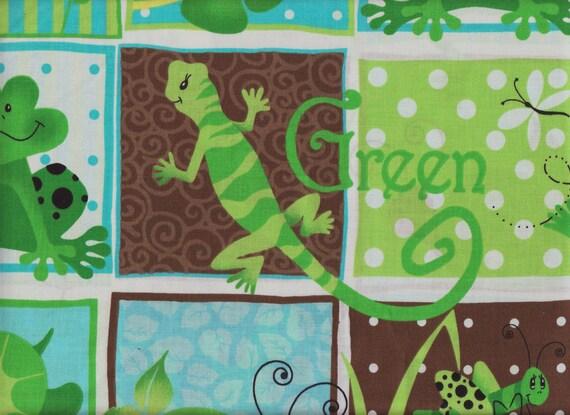 GreenTurtle - Lizard - Frog Fabric By Patty Reed Designs (Last Yard Left)