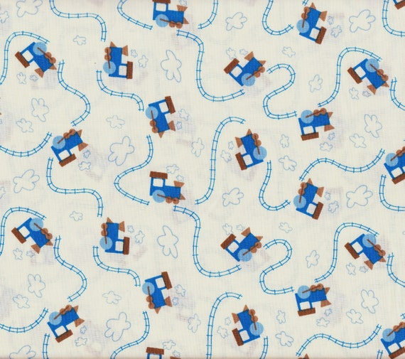 Train and track fabric 1 yard 100 cotton by fabricodyssey for Train fabric by the yard