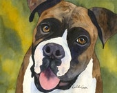 Brindle Boxer dog art print from watercolor painting by Rachelle Smith plus FREE card