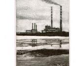 Pigeon Towers - Original Miniature Mezzotint Print