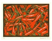 Fire - Original 3 block lino print