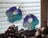 Vintage Lace Earrings sterling silver  purple, emerald green artisan romantic style multicolor design free shipping