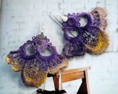 Vintage Lace Earrings - silver purple with yellow gold