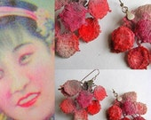 Vintage Lace Earrings  sterling silver  pink with red round romantic contemporary design handmade free shipping