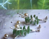 Aquarium Plants Earrings sterling silver green silicone and pearls modern natural gemstone handmade contemporary artisan free shipping