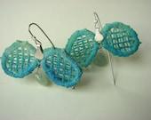 Vintage Lace Earrings sterling silver blue green quartz artisan romantic design handmade free shipping