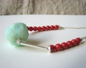 SNOWBALLS necklace sterling silver red coral chrysoprase gemstone handmade free shipping