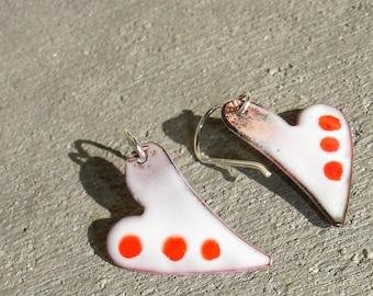 Handmade Enamel on Copper Dangle Heart Earrings, Valentine White and Red Heart Enameled Earrings, Simple Dangle, Enameled Copper, SRA (G102)