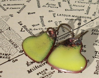 Handmade Enamel on Copper Dangle Heart Earrings, Valentine Chartreuse Green Heart Enameled Earrings, Simple Dangle Earrings, SRA (G105)
