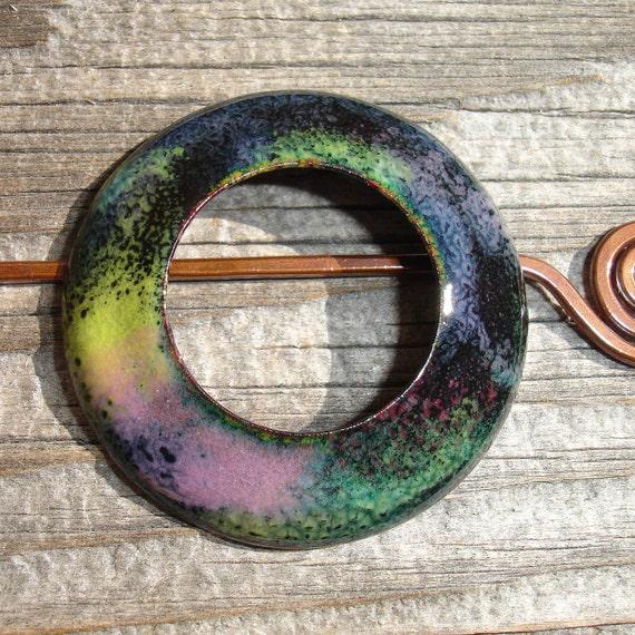 Handmade Enamel Circle Shawl Pin, Hair Pin or Donut Pendant, Autumn Garden in Pink, Yellow, Green, Blue and Black, SRA (E142)