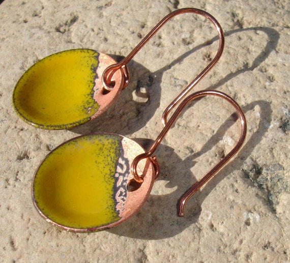 Sale Handmade Enameled Copper Earrings, Enamel on Copper, Simple Dangle, Dot, Circle, Round, Rustic, Yellow, SRA (A154)